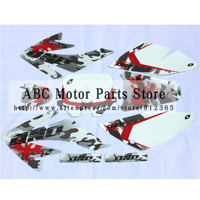 Crf 70 graphics kit crf70 deco decals stickers dirt pit for Uses for dirt