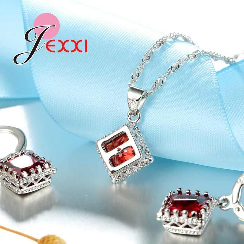 Braut Schmuck Sets 925 Sterling Silber Edlen Schmuck Rot Österreichischen Kristall Anhänger Halsketten Ohrringe Für Frauen Bijoux