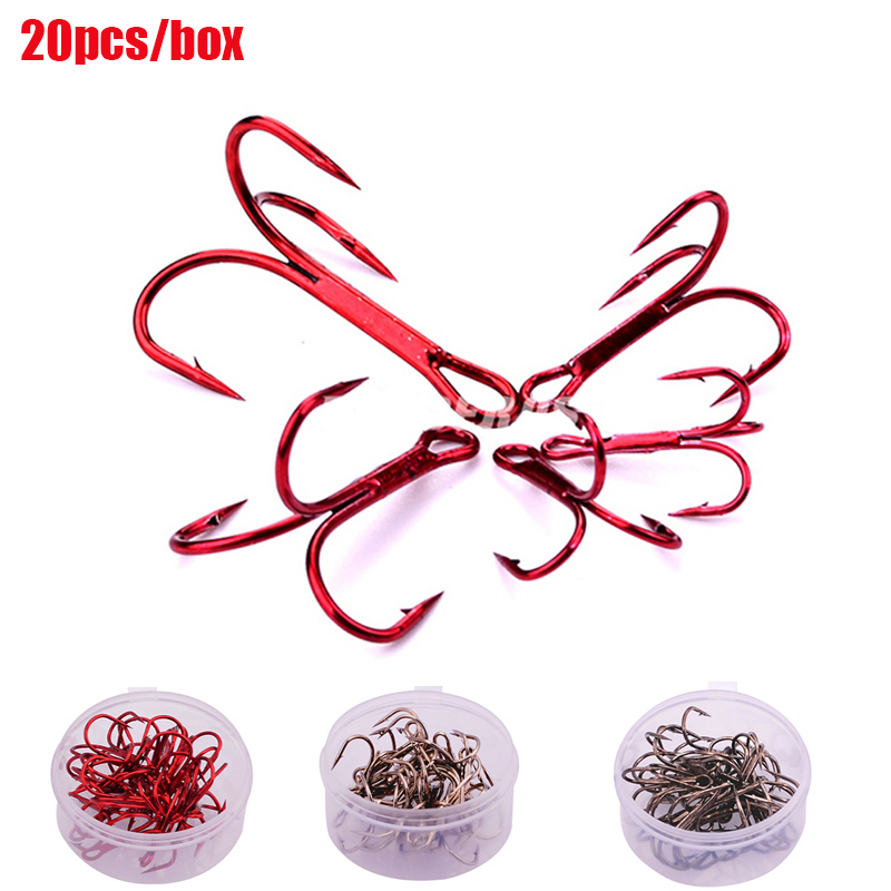 20pcs/box Red High Carbon Steel Treble Jig Hooks Standard Strength Fishing Hooks with Tackle Box-size 2# 4# 6# 8# 10# pesca fish