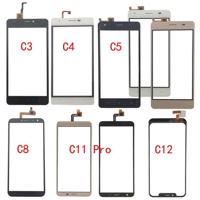 터치 스크린 유리 oukitel c3 c4 c5 c8 c11 프로 c12 터치 스크린 유리 디지타이저 패널 유리 센서 휴대 전화 접착제