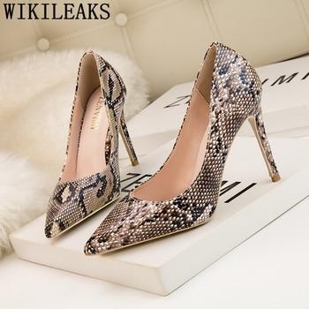 nuevo estilo d36bd 5f475 Nueva llegada 2019 tacones sexis con estampado de serpiente zapatos de  fiesta Zapatos elegantes zapatos de tacón alto fetiche zapatos de noche de  ...