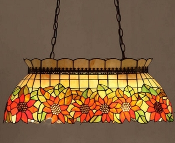 Средиземноморский художественный Европейский Тиффани стиль Подсолнух подвесной светильник прямоугольная столовая лампа