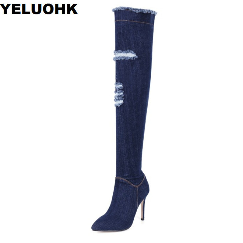 цены New Autumn Shoes Over The Knee High Boots Pointed Toe Denim Shoes High Heels Women Boots Casual Shoes Woman Pumps