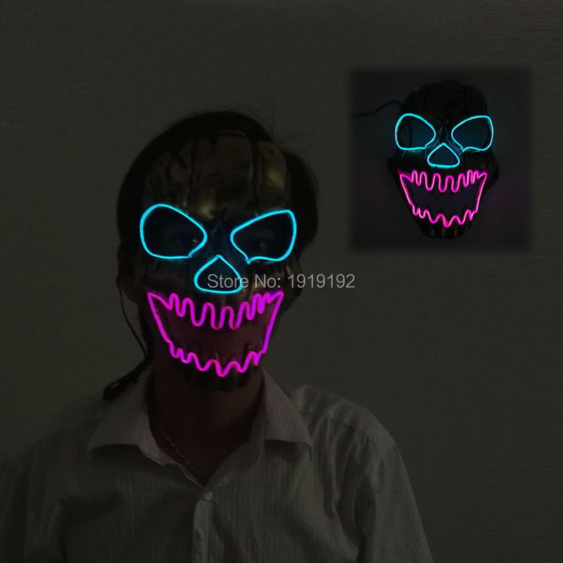 ✓EL wire mask Light Up Neon skull LED Mask For Halloween party and ...