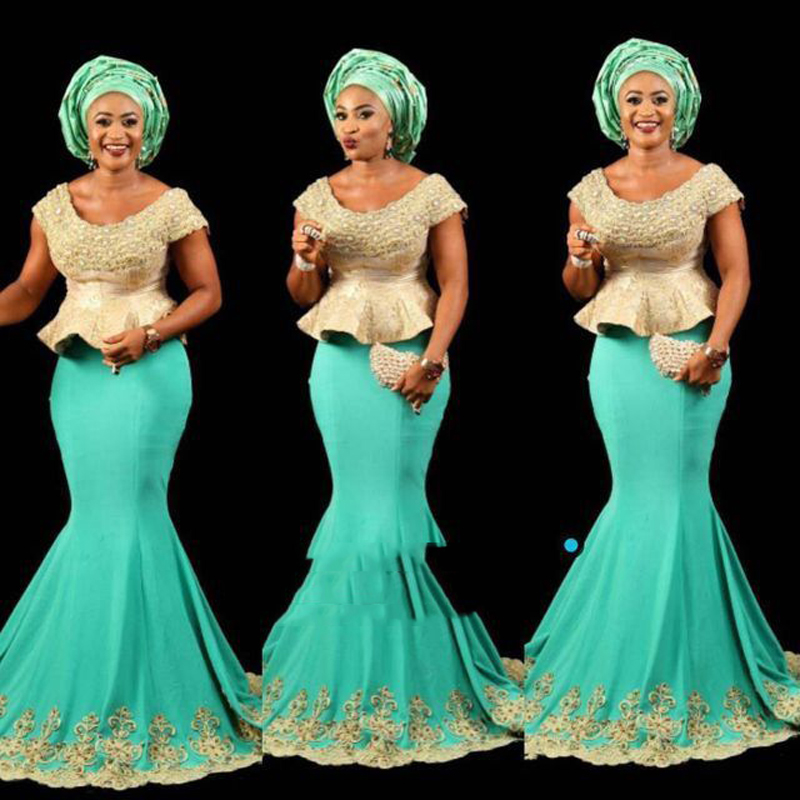 Green With Gold Mermaid African Peplum Long Gowns Beaded  Pearls Nigeria Formal Evening Party Dresses Plus Size 2017 V Neck