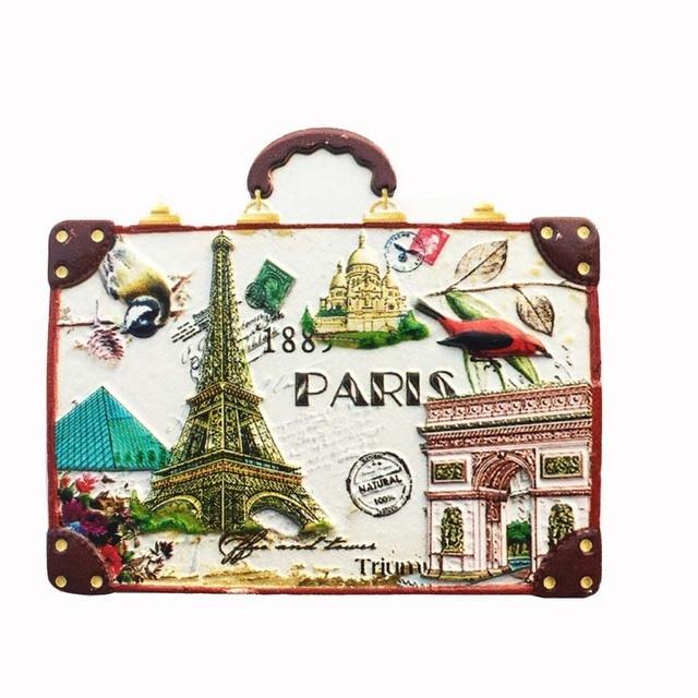 Новая горячая Распродажа Французский Париж креативный чемодан 3D резиновые магниты на холодильник США сувениры для туристов холодильник ма...