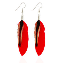 Fashion ladies drop earrings retro ethnic style feather charm earrings exaggerated feather earrings long hand earrings jewelry недорого