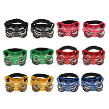 1 Pair Mini Foot Tambourine Percussion Musical Instrument w/ Double Row Metal Jingle Bells for Kids KTV Party Toy Gift