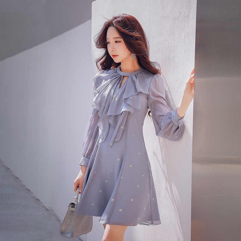 23869c6d195c Dabuwawa Autumn Elegant Dress 2018 New Women Casual Ruffles Puff Sleeve  Chiffon Dress