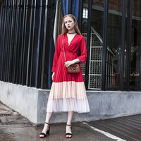 Moda kontrast kolor czerwony sukienka sexy v neck linia kobiet wzburzyć sukienka elegancki jesień zima panie odzież sukienek