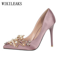 Pearl Designer Valentine Satin Bigtree Shoes Luxury Brand Wedding Shoes Rhinestones Crystal High Heel Shoes Party