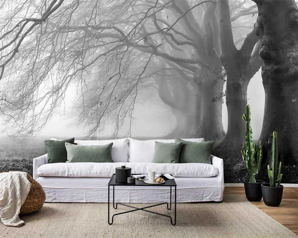 Beibehang 壁紙現代のミニマリストのノスタルジックな霧グレー森壁画