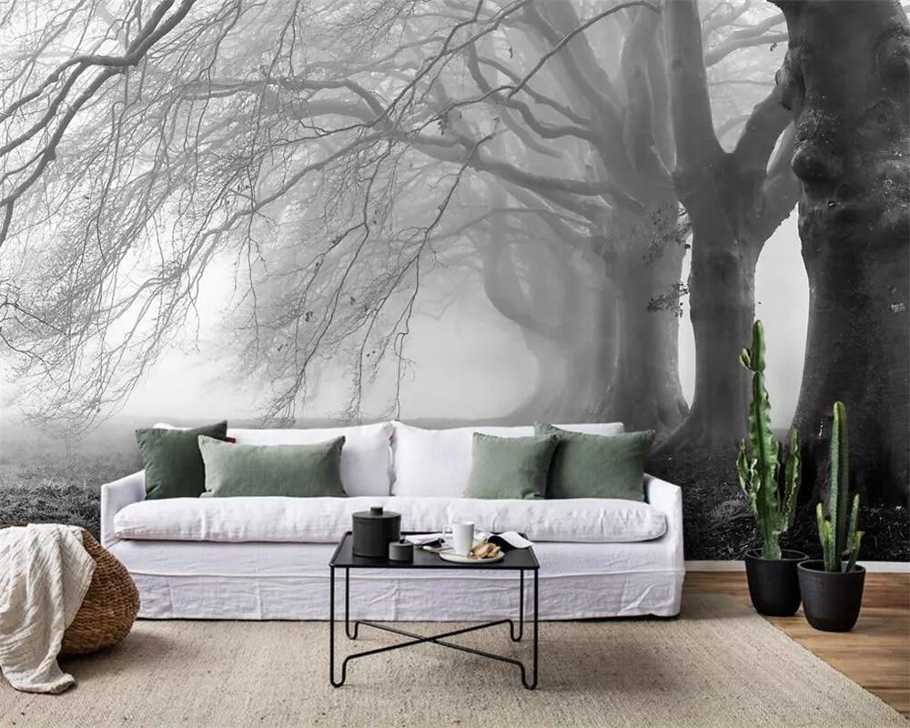 Beibehang Wallpaper Modern Minimalist Nostalgic Foggy Gray Tree Forest Mural TV Background Wall 3d Wallpaper Papel De Parede