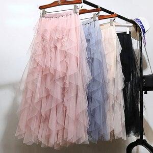 Image 5 - Jupe Tutu en Tulle pour femmes, jupe Maxi longue plissée, mode coréenne, noir, rose, taille haute, printemps 2020