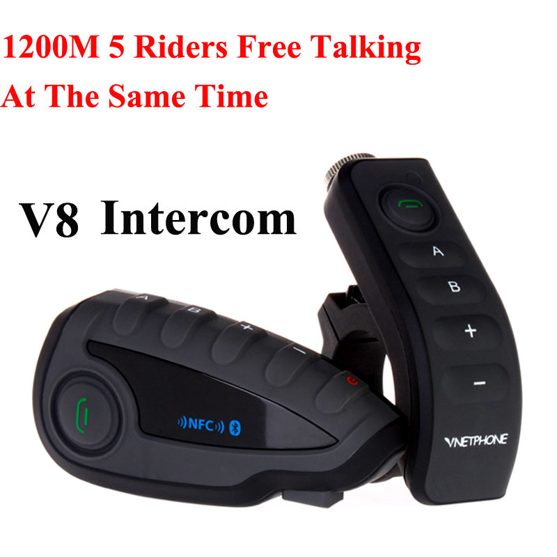 VNETPHONE V8 Interphone 5-Façon Bluetooth Équipement Moto Casque Casque FM Stéréo MP3 NFC Télécommande Smart Support Téléphone