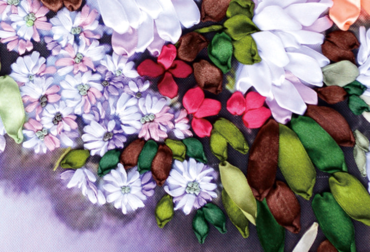 DIY 3D Ribbon Embroidery cross stitch kits sets handmade needlework / flower Hoom office Decor Arts picture paintings
