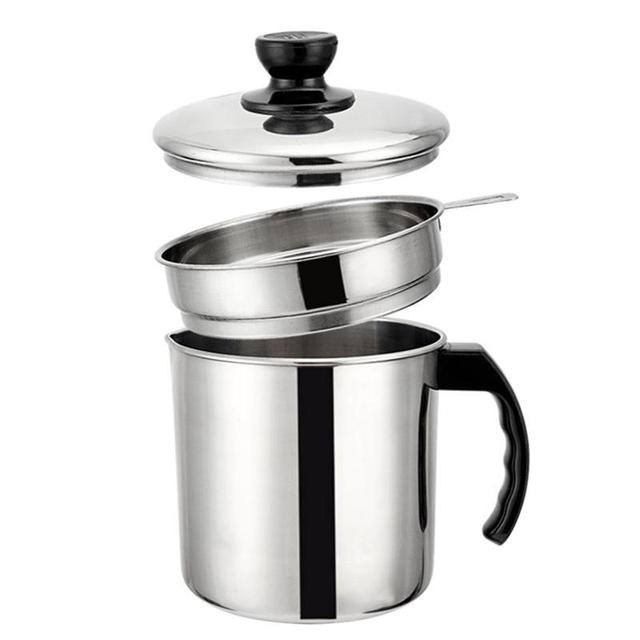 12L Stainless Steel Oil Strainer Pot Grease Container Oil Storage