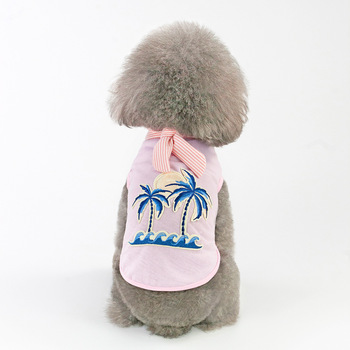 dog vest New spring and summer festival Pet Clothing puppy Medium dogs cloths Teddy Bulldog Fashion Leisure coconut embroidered 2