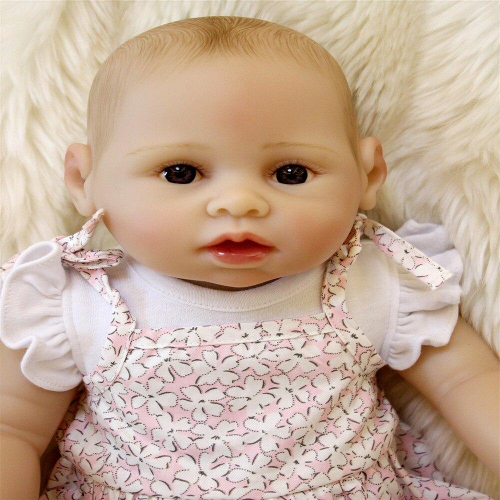 SanyDoll 18 inch 45 cm Silicone baby reborn dolls, lifelike doll reborn Beautiful dress lovely girl birthday gift Christmas gift