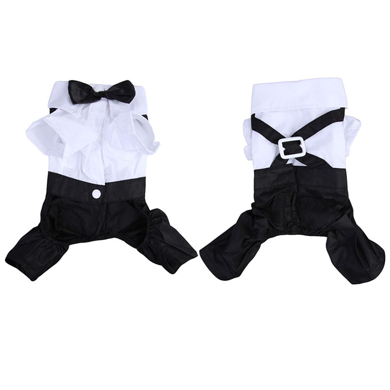 New Pet Dog Cat Gentleman Suit Clothes Jumpsuit Bow Tie Tuxedo T-Shirt Costume Dog Gentleman Jumpsuits Rompers DA