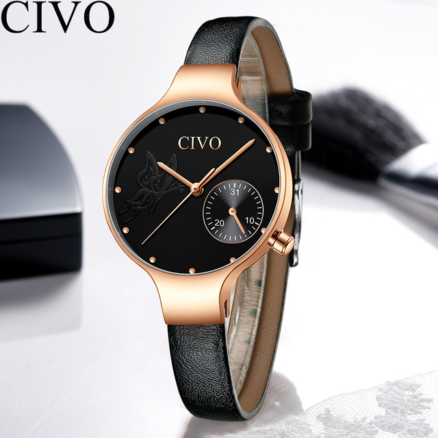 CIVO 2019 New Fashion Ladies Watch Quartz Genuine Leather Watches Butterfly Lady Bracelet Dress Watch Women Wristwatch Clock 5