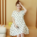 Maternidade verão 2017 nova tamanho grande moda solta algodão de mangas curtas-coreano dress 6028