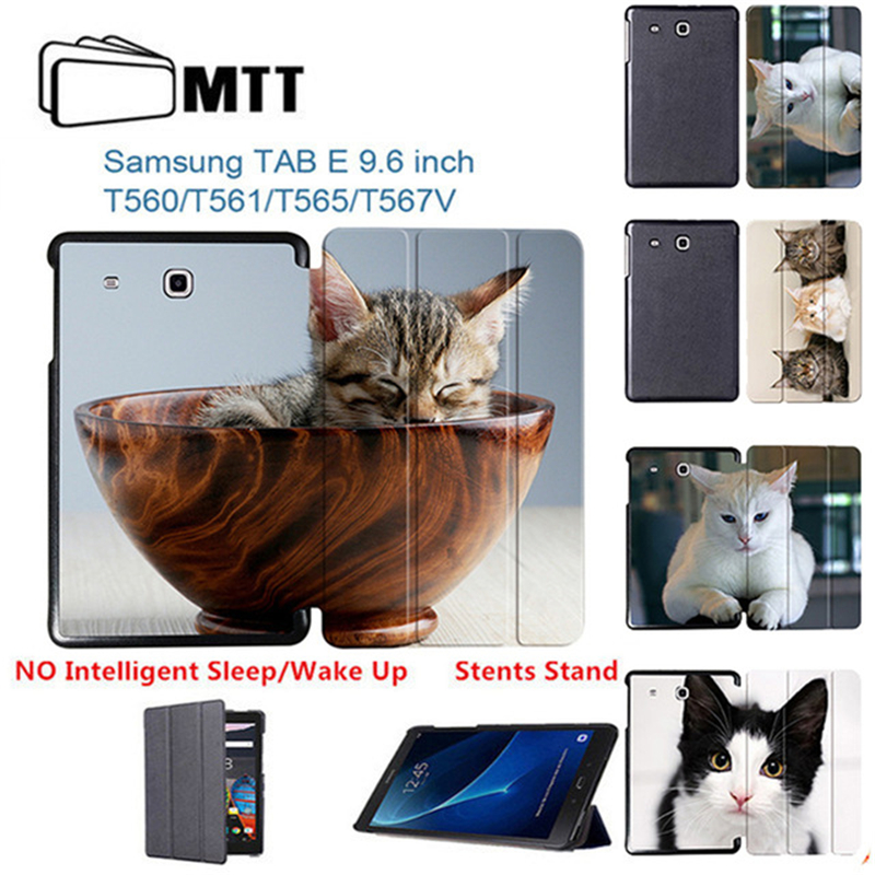 Cute Pet Cat Stand cover For Samsung Galaxy Tab E 9.6 sm-T560 sm T561 Tablet Case funda for Samsung Tab E 9.6 T560 Leather Cover