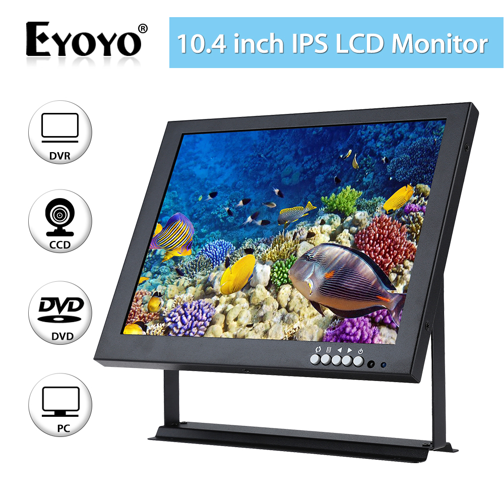 EYOYO 10 inch IPS LCD Monitor Screen 4:3 1024*768 HDMl BNC VGA Video Audio for CCTV DVR DVD Security Camera Built-In Speakers