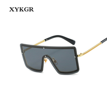 XYKGR new one-piece square sunglasses mens trend personality ladies brand designer pink yellow UV400
