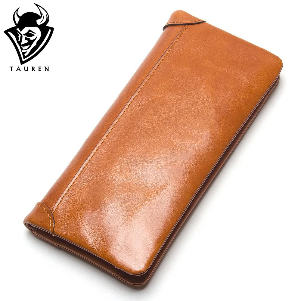 TAUREN Oil Wax Genuine Leather Men Wallet Long Designer Male Clutch Luxury Brand Men Wallets Zipper Coin Purse Phone Bags