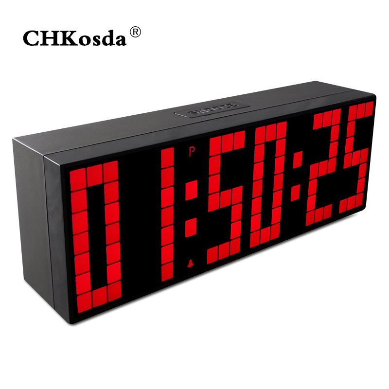 CHKOSDA Digital Alarm Clock Home Decoration LED Clock Weather Station Temperature Display Countdown Timer Red Wall Watch Clocks