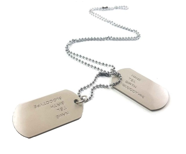 stainless steel designer mens military army 2 dog tags pendant