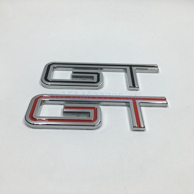 For   Ford Mustang Gt Fender Nameplate Badge Emblem Sticker Black Red
