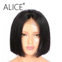 Алиса прямо бразильский волос Девы full Кружево Боб Человеческие волосы Искусственные парики 180 плотность только 22