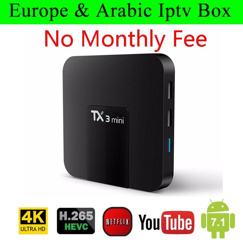 TX3 Android 7.1 Smart TV Box a vita libera Europa Francese Germania In America CI Arabo IPTV 2300 Canali TV 500 VOD media