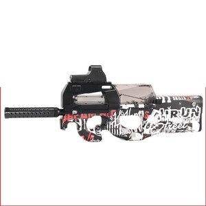 Image 4 - Pistola de juguete eléctrica P90 de Graffiti Edition, Arma de simulación de corte CS de asalto en vivo, pistola de balas de agua suave para exteriores, juguetes para niños