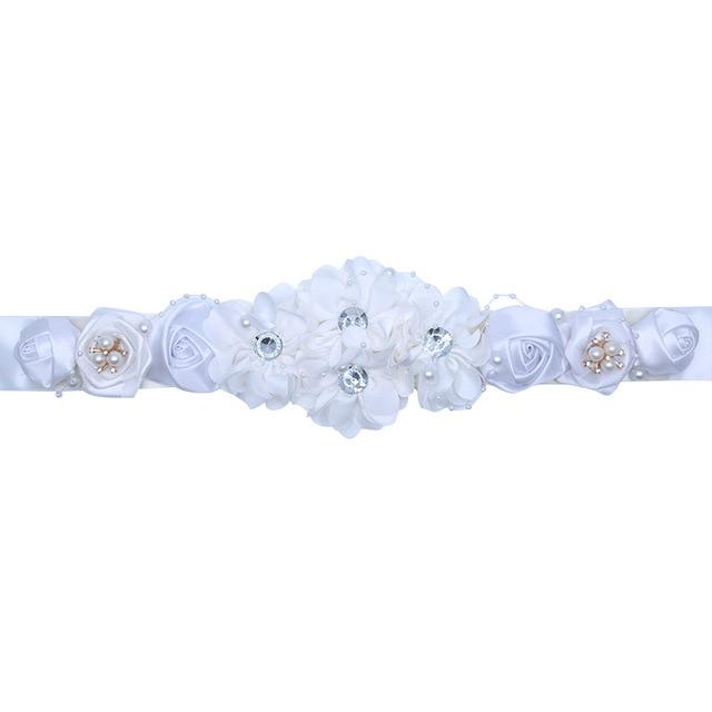 Kyunovia wedding sash Fashion Polyester Floral Women Dress Belts Wedding Bridal Flower Girl Sash Satin Ribbon Flower Belt D08