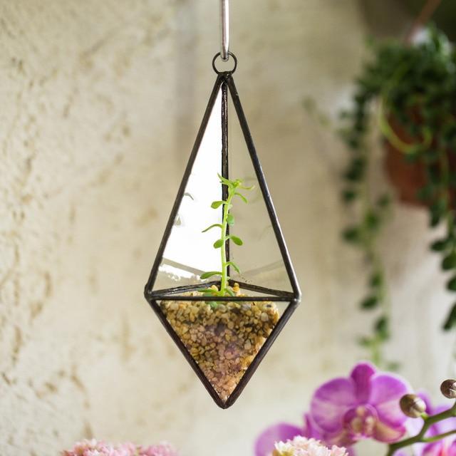 Modern Wall Hanging Mini Geometric Pyramid Glass Terrarium Succulent