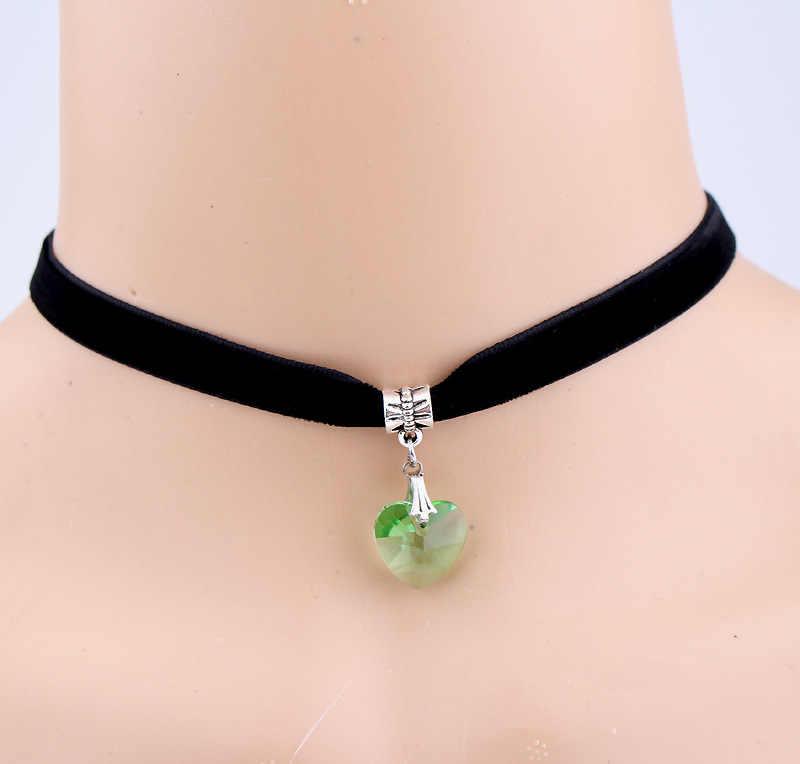 Персиковое сердце любовь ожерелье с кристаллом в форме сердца японский Harajuku ретро кружева короткое ожерелье воротник для женщин женская цепь Воротник Колье