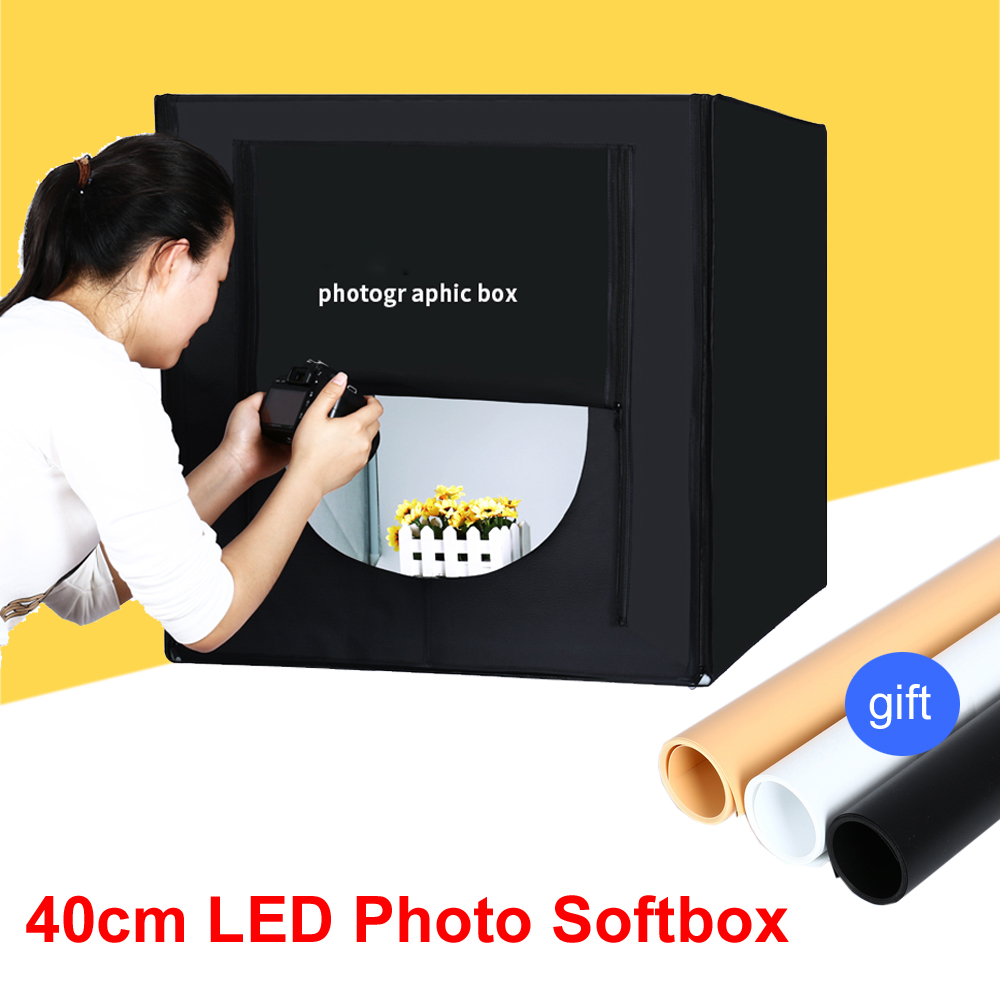 40*40CM Portable LED Photo Studio Softbox Light Tent +Background +AC Adapter for Phone Camera DSLR Jewelry Toys Necklace Shoes 40cm softbox kit led bluetooth pvc background photography shooting table small photo studio phone tripod jewelry set equipment