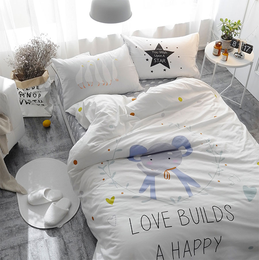 graphic bed sheets promotionshop for promotional graphic bed  - lovely cartoon bedding set teen child kidcotton twin single characterelephant home textiles bed sheet pillowcase quilt cover
