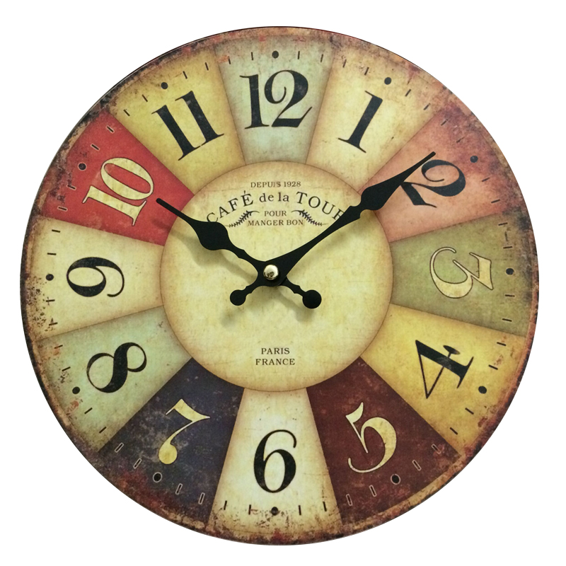 25CM Retro Wall Clocks Paris Antique Quartz MDF Wooden Clock 10'inch Home Decoration Big Wall Clock