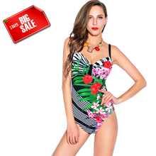 Floral Printing Triangle One pieces Swimwear Sexy Underwire Padded Push up Women Swimsuit