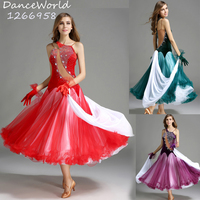 new big swing green velvet standard ballroom dance dresses purple red sequins competition dresses waltz performance