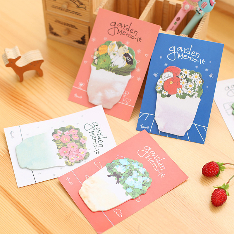 3Pcs/lot Cute Kawaii Flowers Notebook Memo Pad Self-Adhesive Sticky Notes Office School Supplies Post It Memo Pad students gift