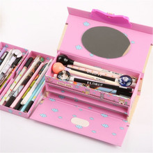 Buy Three Layer Stationery Box Pencil Case for Girls With Super Storage Password Lock and a mirror for kids School office supplies directly from merchant!