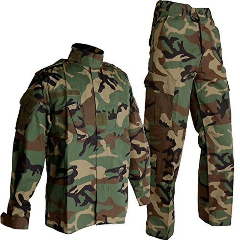 CQC Tactical Airsoft Military Army BDU Uniform Woodland Combat Shirt & Pants Set Outdoor Paintball Training Hunting Clothing