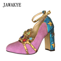 Pink Suede Rhinestone Wedding Shoes Women Pumps Chunky High heels Patchwork Strap Bling Crystal Woman Dress Shoes Party Shoes