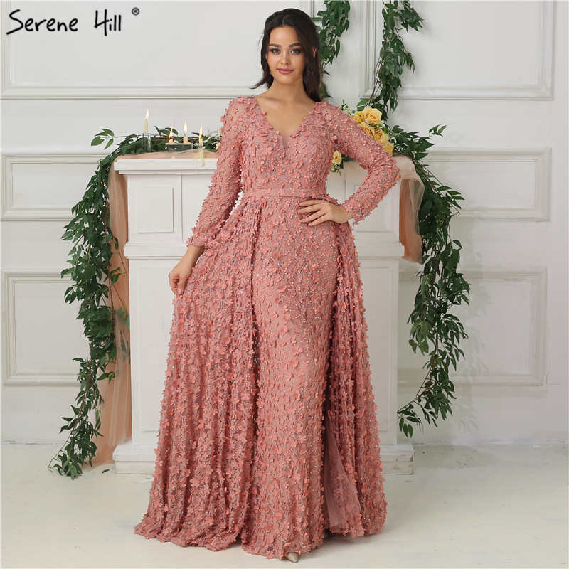 New Blush Pink Long Sleeves   Evening     Dresses   2019 A-Line Handmade Flowers Pearls Fashion   Evening   Gowns Real Photo LA6650