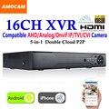 Новые CCTV 16 Канал XVR Видеорегистратор Все HD 1080 P 5-в-1 16 CH Супер DVR Записи поддержка AHD/аналоговый/Onvif IP/TVI/CVI Камеры